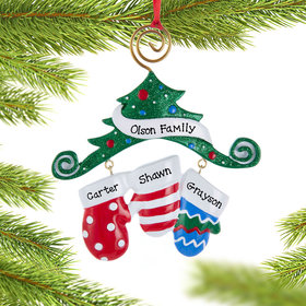 Personalized Mitten Family of 3 Christmas Ornament