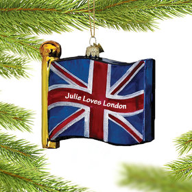 Personalized United Kingdom Flag Christmas Ornament