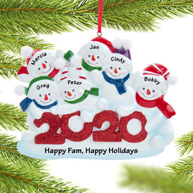 Personalized 2020 Snowman Family of 6 Christmas Ornament