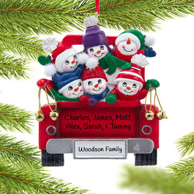 Personalized Snowman Family of 4 on Truck Christmas Ornament