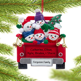 Personalized Snowman Family of 5 on Truck Christmas Ornament