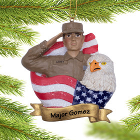 Personalized US Army Soldier Christmas Ornament