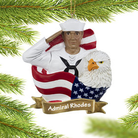 Personalized NAVY Sailor Christmas Ornament