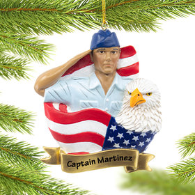 Personalized USAF Soldier Christmas Ornament