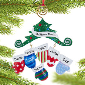 Personalized Mitten Family of 6 Christmas Ornament