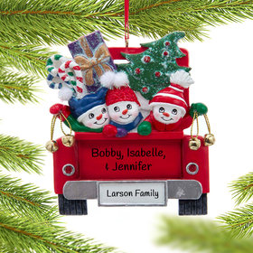 Personalized Snowman Family of 3 on Truck Christmas Ornament