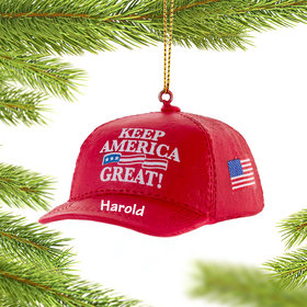 Personalized Keep America Great Hat Christmas Ornament
