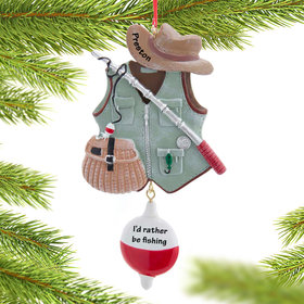 Personalized Fishing Vest Christmas Ornament