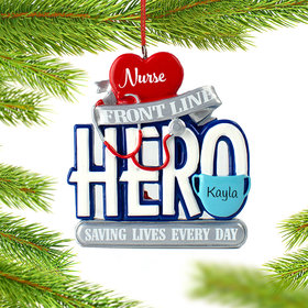 Personalized Nurse Hero Christmas Ornament