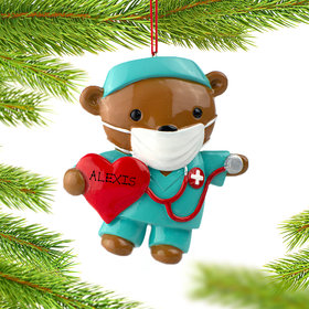 Personalized Nurse Bear with Scrubs Christmas Ornament