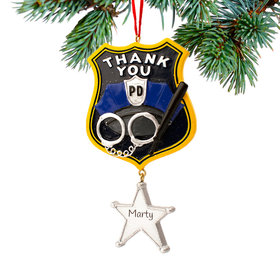 Personalized Thank You Police Christmas Ornament