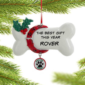 Personalized Spoiled Rotten Dog Bone Christmas Ornament