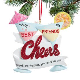 Personalized Best Friend Cheers Cocktail Christmas Ornament