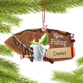 Personalized Fishing Boat Christmas Ornament
