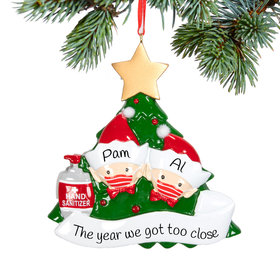 Personalized Elf Family of 2 With Mask Christmas Ornament
