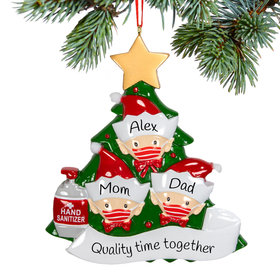 Personalized Elf Family of 3 With Mask Christmas Ornament