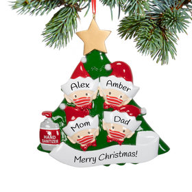Personalized Elf Family of 4 with Mask Christmas Ornament