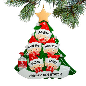 Personalized Elf Family of 5 With Mask Christmas Ornament
