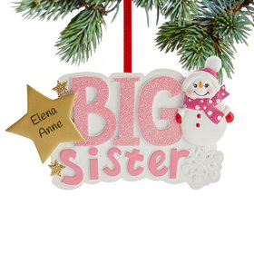 Personalized Big Sister Snowman Christmas Ornament