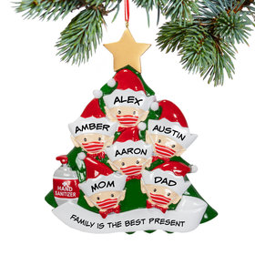 Personalized Elf Family of 6 With Mask Christmas Ornament