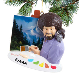 Personalized Bob Ross Painting Christmas Ornament