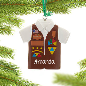 Personalized Girl Scouts of USA Brownies Vest Christmas Ornament