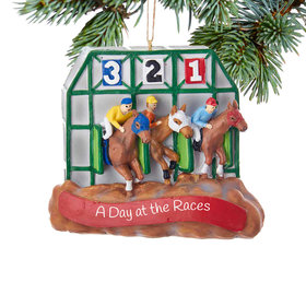 Personalized Horse Race Starting Gate Christmas Ornament