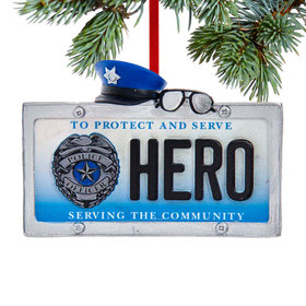 Personalized Police Hero License Plate Christmas Ornament