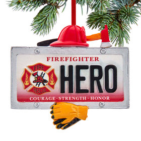 Personalized Firefighter Hero License Plate Christmas Ornament