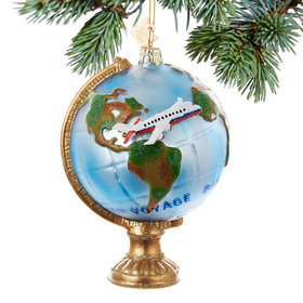 Personalized Travel Globe With Airplane Christmas Ornament