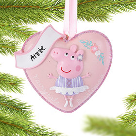 Personalized Peppa Pig Heart Christmas Ornament