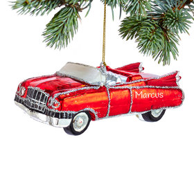 Personalized Red Retro 60's Car Christmas Ornament