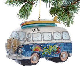 Personalized Bus With Surfboard Christmas Ornament