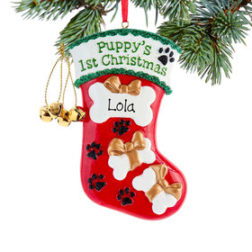Personalized Puppy's First Christmas Stocking Christmas Ornament