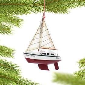 Personalized Wooden Yacht Sailboat with Red Hull Christmas Ornament