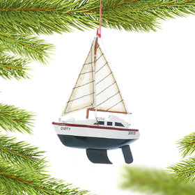 Personalized Wooden Sailboat with Green Hull Christmas Ornament