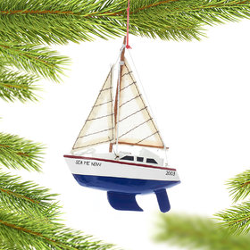 Personalized Wooden Yacht Sailboat with Blue Hull Christmas Ornament