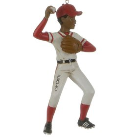 Personalized Boy Throwing a Baseball Christmas Ornament