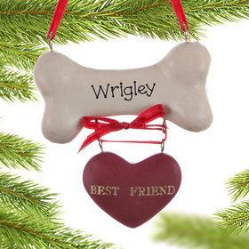 Personalized Best Friend Dog Bone Christmas Ornament