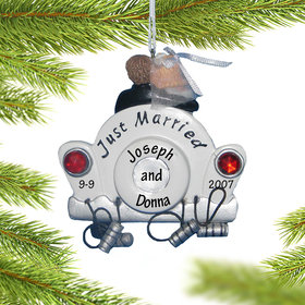Personalized Just Married Car Christmas Ornament