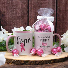 Personalized Breast Cancer Hope 11oz Mug with Lindt Truffles