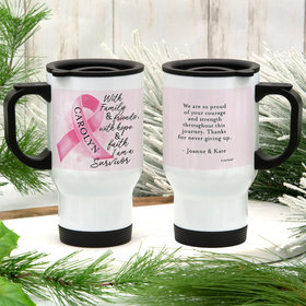 Personalized Breast Cancer Survivor Stainless Steel Travel Mug (14oz)