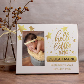 Personalized Picture Frame Hello Little One Gold