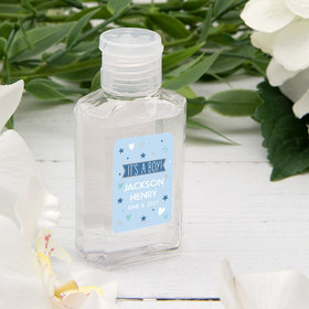 Personalized Baby Shower Hand Sanitizer with Carabiner 2 oz Bottle - It's A Boy!