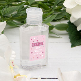 Personalized Baby Shower Hand Sanitizer with Carabiner 2 oz Bottle - It's A Girl!