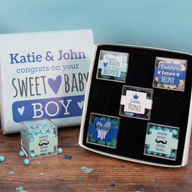 Personalized Baby Premium Gift Box with 5 JUST CANDY® favor cubes - Sweet Baby Boy