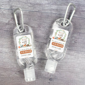 Personalized Baby Shower Hand Sanitizer with Carabiner 1 oz Bottle - Hello World