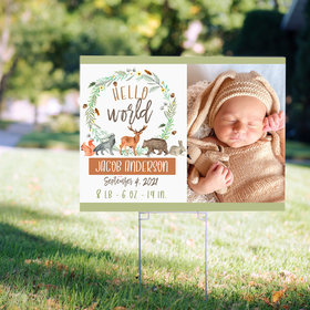 Personalized Hello World Baby Shower - Yard Sign