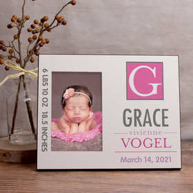 Personalized Picture Frame Baby Pink Monogram