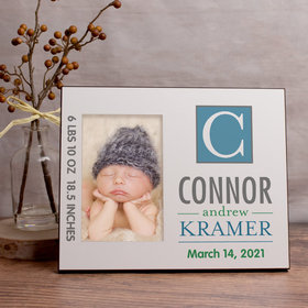 Personalized Picture Frame Baby Blue Monogram